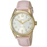 Timex TW2P99100 Women's Main Street Gold-Tone Watch Pink Leather Strap